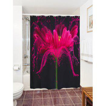Mildew Resistant Flower Shower Curtain Bath Screen - BLACK W71 INCH * L79 INCH