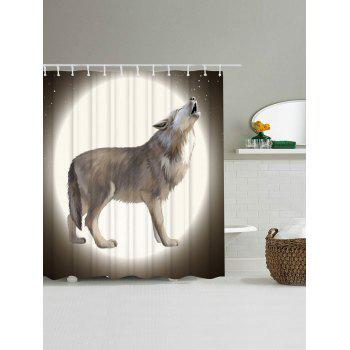 Unique Moon Wolf Shower Curtain For Bathroom - COLORMIX W71 INCH * L79 INCH
