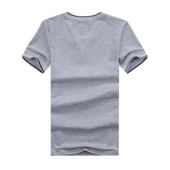 Embroidered V Neck Tee - GRAY XL