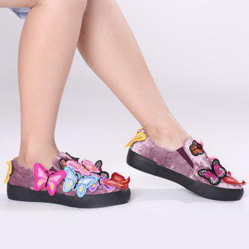 Butterfly Embroidered Slip On Sneakers - PURPLE 41