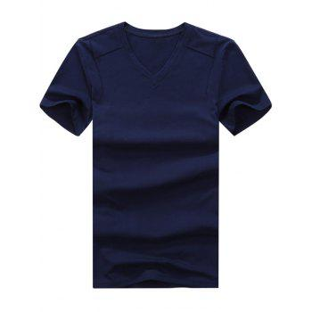 Short Sleeve V Neck Plain Basic Tee