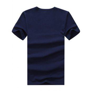 Short Sleeve V Neck Plain Basic Tee - 3XL 3XL
