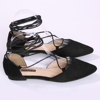 Suede Point Toe Lace Up Flats - Noir 38