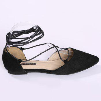 Suede Point Toe Lace Up Flats - BLACK 40