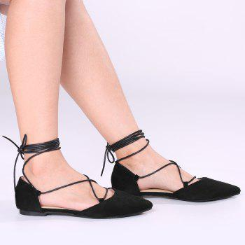 Suede Point Toe Lace Up Flats - BLACK BLACK