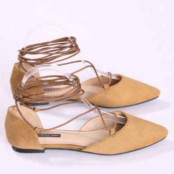 Suede Point Toe Lace Up Flats - 38 38