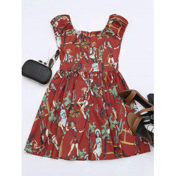 Sweetheart Neck Mini Printed Dress - XL XL