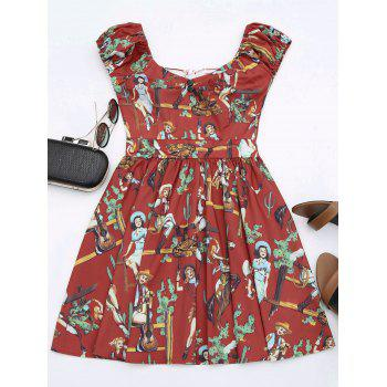 Sweetheart Neck Mini Printed Dress - RED RED