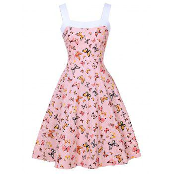 Butterfly Print Vintage Sleeveless Dress