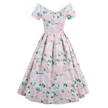 Short Sleeve Rose Print Vintage Dress