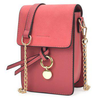 Metal Detail Chain Crossbody Bag - RED RED