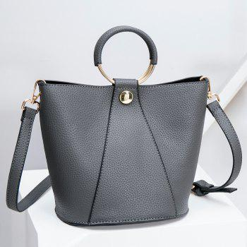 PU Leather Metal Ring Handbag -  GRAY