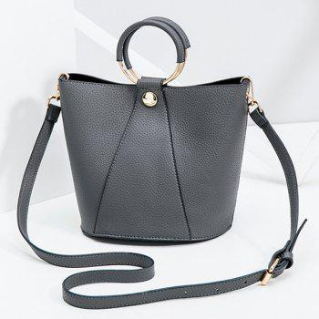 PU Leather Metal Ring Handbag - GRAY GRAY