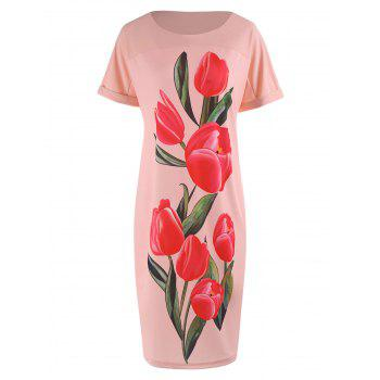 Plus Size Tulip Floral Bodycon Dress