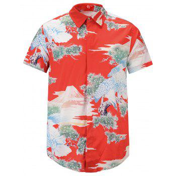 3D Eagle Japanese Style Print Cover Placket Shirt