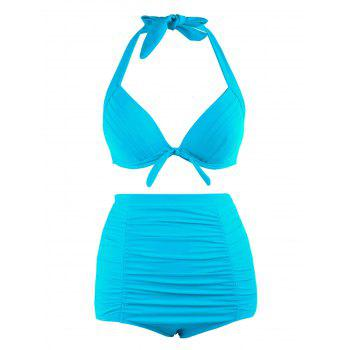 Plus Size Halter Vintage High Waist Bikini Swimwear