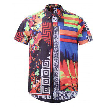 Floral Color Block Tribal Print Cover Placket Shirt