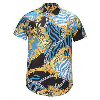 Chain Floral and Tiger Print Cover Placket Shirt