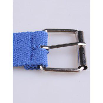 Metal Round Rivet Hole Pin Buckle Belt - BLUE