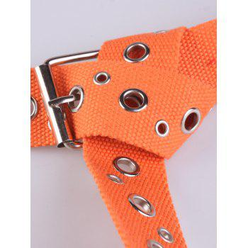 Metal Round Rivet Hole Pin Buckle Belt -  ORANGE