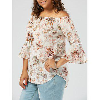 Floral Printed Plus Size Chiffon Off The Shoulder Top