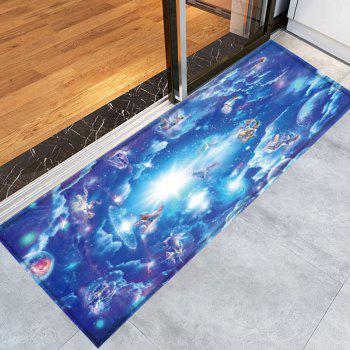 Skidproof Crystal Velvet Fabric Celestial Bathroom Rug - BLUE W16 INCH * L47 INCH