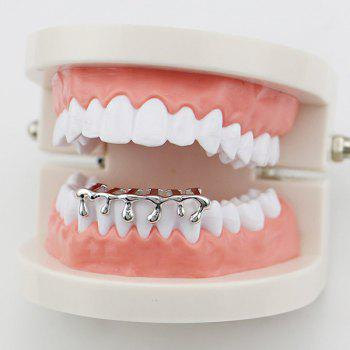 Lava Shape Hip Hop Bottom Teeth Grillz - SILVER SILVER