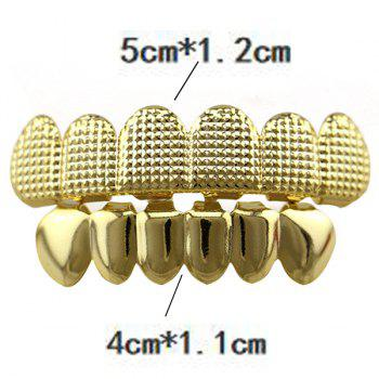 Hip Hop Top Bottom Teeth Cool Grillz Set - GOLDEN