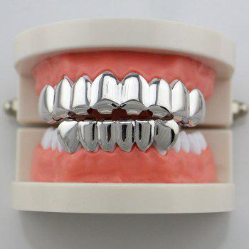 Hip Hop Top with Bottom Teeth Grillz Set -  SILVER
