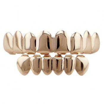 Hip Hop Top with Bottom Teeth Grillz Set - ROSE GOLD ROSE GOLD