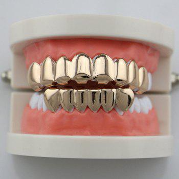 Ensemble Hip Hop Top avec Bottas Teeth Grillz - Or Rose