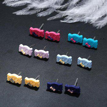 Cute Candy Bows Stud Tiny Earring Set - COLORMIX