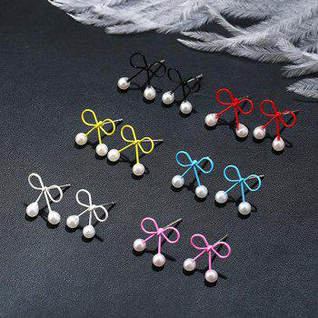 Tiny Faux Pearl Bows Stud Earring Set - COLORMIX
