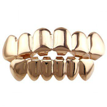 Smooth Top Bottom Teeth Hip Hop Grillz Set - ROSE GOLD ROSE GOLD