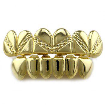 Heart Top Bottom Hip Hop Teeth Grillz Set