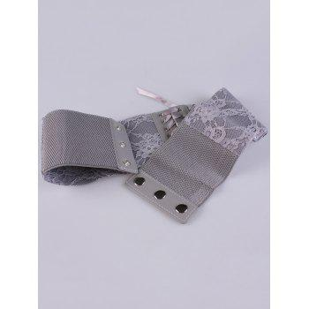 Lace Up Retro Lacework Corset Belt -  GRAY