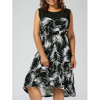 Plus Size Tropical Leaf Sleeveless Dress