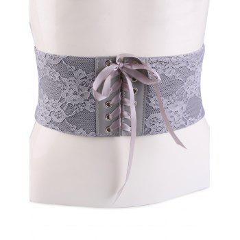 Lace Up Retro Lacework Corset Belt - GRAY GRAY
