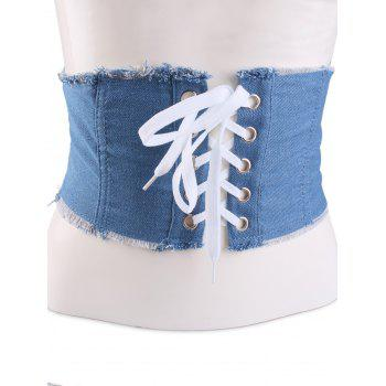 Denim Fringed Brim Lace Up Corset Belt - LIGHT BLUE LIGHT BLUE