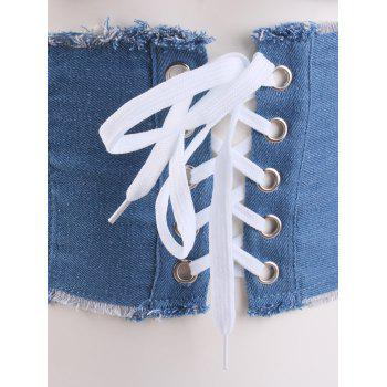 Denim Fringed Brim Lace Up Corset Belt -  LIGHT BLUE