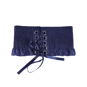 Lace Up Circles Pleating Shimmer Corset Belt - BLUE
