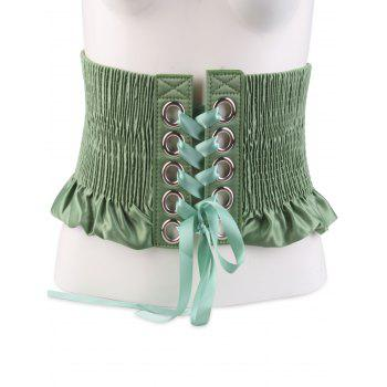 Lace Up Circles Pleating Shimmer Corset Belt - GREEN GREEN