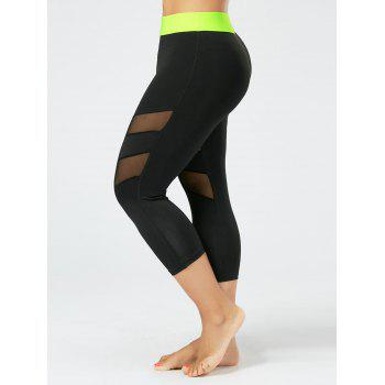 Plus Size Mesh Panel Cropped Fitness Leggings - BLACK XL