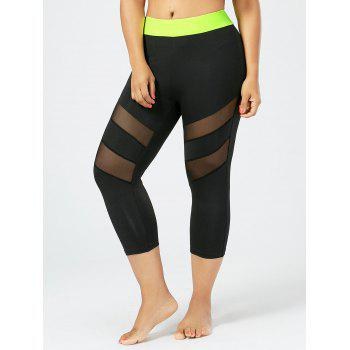 Plus Size Mesh Panel Cropped Fitness Leggings - BLACK BLACK