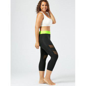 Plus Size Mesh Panel Cropped Fitness Leggings - 3XL 3XL