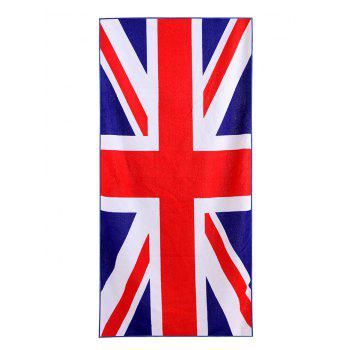 British Flag Pattern Polyester Fabric Soft Bath Towel - BLUE W15.5 INCH * L67 INCH