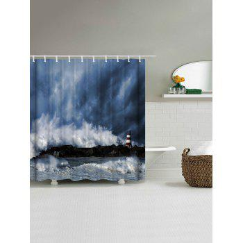 Polyester Fabric Ocean Surge Shower Curtain - BLUE GRAY W59 INCH * L71 INCH