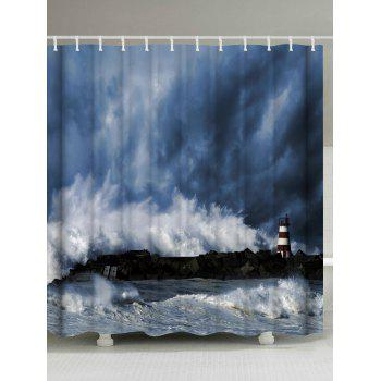 Polyester Fabric Ocean Surge Shower Curtain