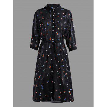 Plus Size Cartoon Printed Chiffon Shirt Dress