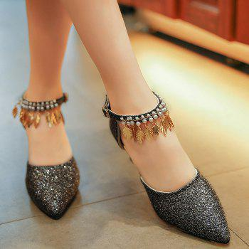 Wedding Beaded Glitter Point Toe Pumps - BLACK 38
